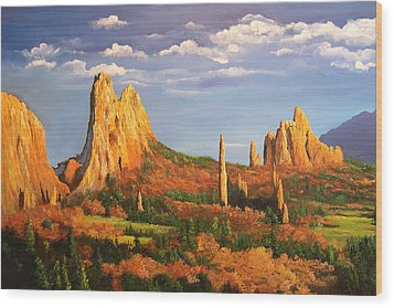 Garden Of The Gods Wood Print by Connie Tom