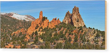 Wood Print featuring the photograph Garden Of The Gods High Point Panorama by Adam Jewell