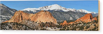 Wood Print featuring the photograph Garden Of The Gods Medium Panorama by Adam Jewell