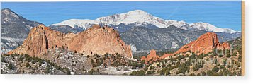Wood Print featuring the photograph Garden Of The Gods Panorama by Adam Jewell