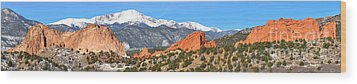 Wood Print featuring the photograph Garden Of The Gods Red Rock Panorama by Adam Jewell
