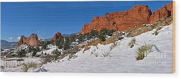 Wood Print featuring the photograph Garden Of The Gods Snowy Blue Sky Panorama by Adam Jewell