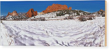 Wood Print featuring the photograph Garden Of The Gods Snowy Morning Panorama Crop by Adam Jewell