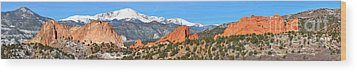 Wood Print featuring the photograph Garden Of The Gods Spring Panorama by Adam Jewell