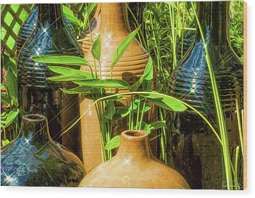 Garden Pottery Jugs Wood Print