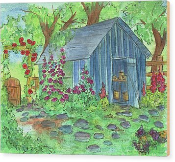Garden Potting Shed Wood Print by Cathie Richardson