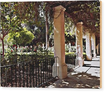 Wood Print featuring the photograph Garden Promenade - San Fernando Mission by Glenn McCarthy Art and Photography