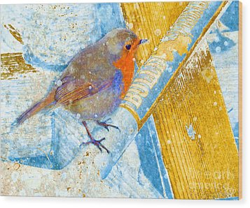 Wood Print featuring the photograph Garden Robin by LemonArt Photography