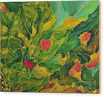Wood Print featuring the painting Garden Series by Teresa Wegrzyn