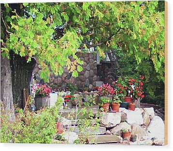 Garden Terrace Wood Print by Desiree Paquette