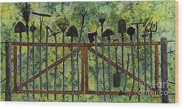 Wood Print featuring the painting Garden Tools by Hailey E Herrera