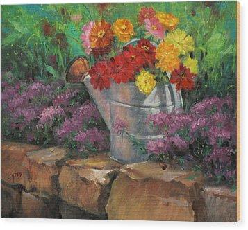 Garden Treasure Wood Print by Linda Eades Blackburn