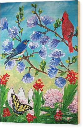 Garden View Birds And Butterfly Wood Print by Patricia L Davidson
