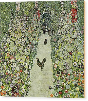 Garden With Chickens Wood Print