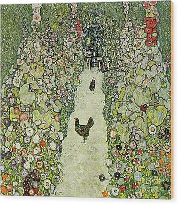 Garden With Chickens Wood Print by Gustav Klimt