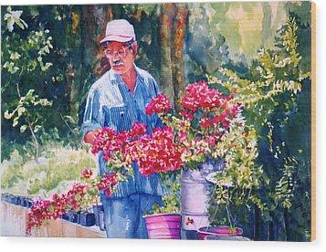 Gardener Wood Print by Estela Robles