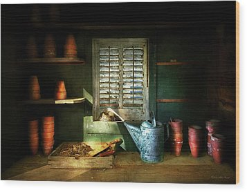 Wood Print featuring the photograph Gardener - The Potters Shed by Mike Savad