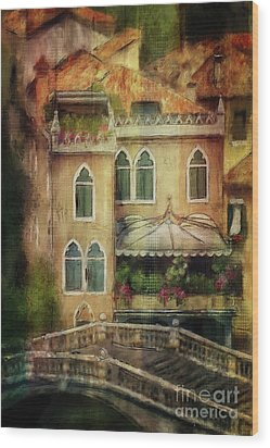Wood Print featuring the digital art Gardening Venice Style by Lois Bryan