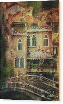 Gardening Venice Style Wood Print by Lois Bryan