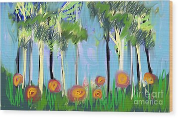 Wood Print featuring the digital art Gardenscape 1 by Elaine Lanoue
