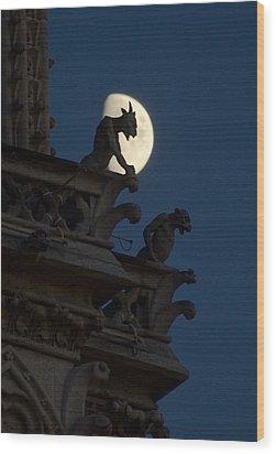 Gargoyle Night Watch Wood Print by Matthew Green