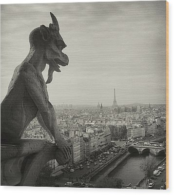 Gargoyle Of Notre Dame Wood Print by Zeb Andrews