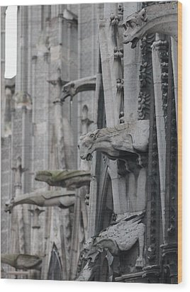 Wood Print featuring the photograph Gargoyles North Notre Dame by Christopher Kirby