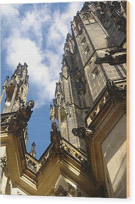 Gargoyles On St. Vitus Cathedral Wood Print by John Julio
