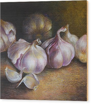 Garlic Painting Wood Print