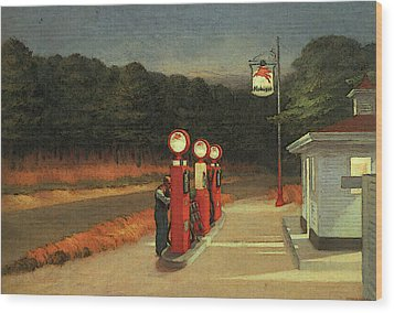 Gas  Wood Print by Edward Hopper