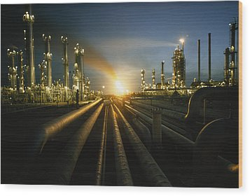 Gas Fires Light The Sky As A Heavily Wood Print by Thomas J. Abercrombie