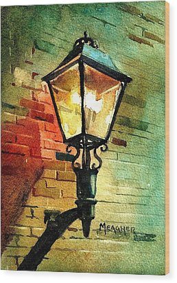 Gas Lamp Wood Print by Spencer Meagher
