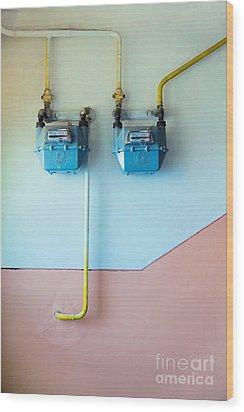 Gas Meters Wood Print by Gabriela Insuratelu