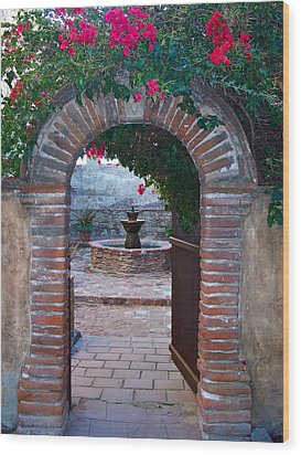 Gate To The Sacred Garden And Bell Wall Mission San Juan Capistrano California Wood Print by Karon Melillo DeVega
