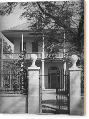 Gated Colonial Home Wood Print