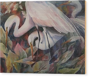 Gathering Egrets Wood Print by Sue Zimmermann
