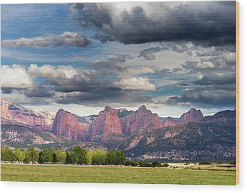 Gathering Storm Over The Fingers Of Kolob Wood Print