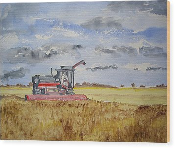 Gathering The Harvest Wood Print by Carole Robins