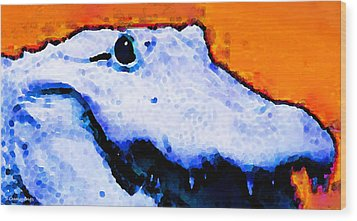 Gator Art - Swampy Wood Print by Sharon Cummings