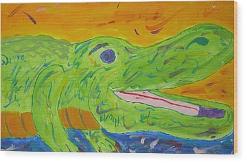 Wood Print featuring the painting Gator In Bloom by Yshua The Painter
