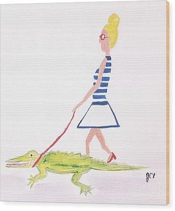 Gator Walk Wood Print by J Cv