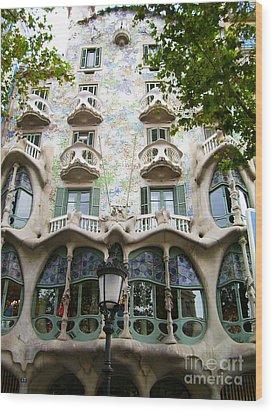 Gaudi Architecture Wood Print by Laura Kayon