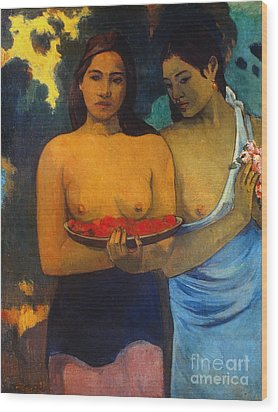 Gauguin: Two Women, 1899 Wood Print by Granger