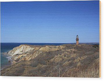 Wood Print featuring the photograph Gay Head Lighthouse And Cliffs by Greg DeBeck