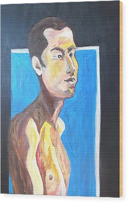 Wood Print featuring the painting Gay Survivor by Esther Newman-Cohen