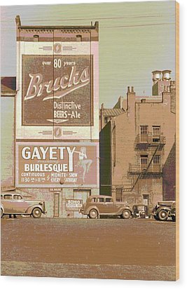 Gayety Burlesque Parking Wood Print by Padre Art