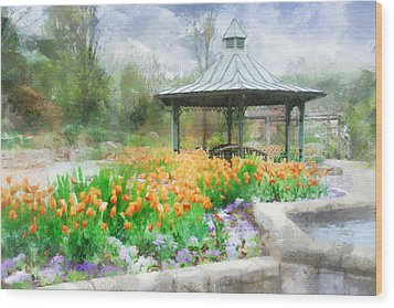 Wood Print featuring the digital art Gazebo With Tulips by Francesa Miller