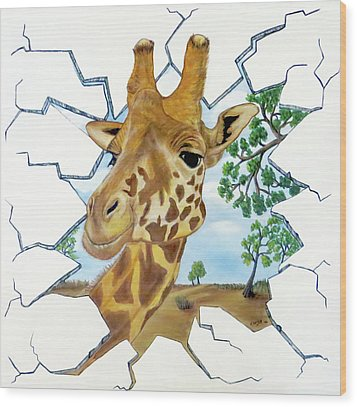 Wood Print featuring the painting Gazing Giraffe by Teresa Wing