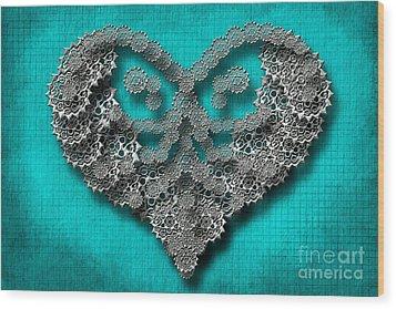 Gear Heart Wood Print