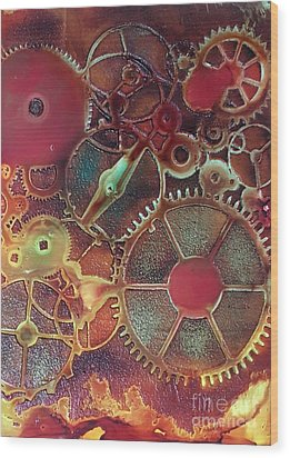 Gear Works Wood Print by Suzanne Canner